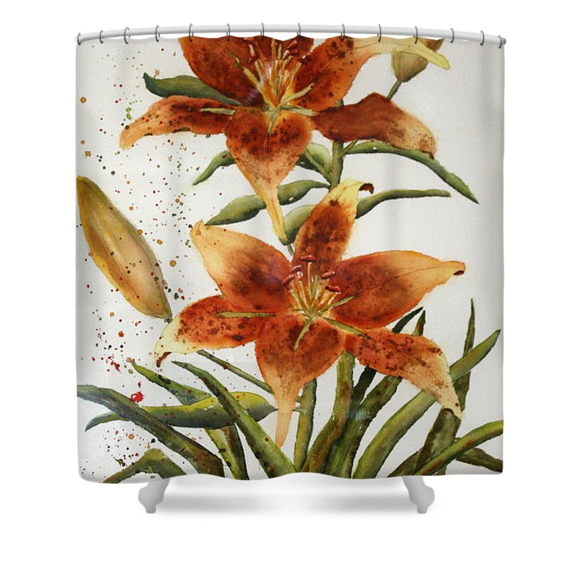 Lilies Shower Curtain featuring the painting Golden Lilies by Patricia Novack