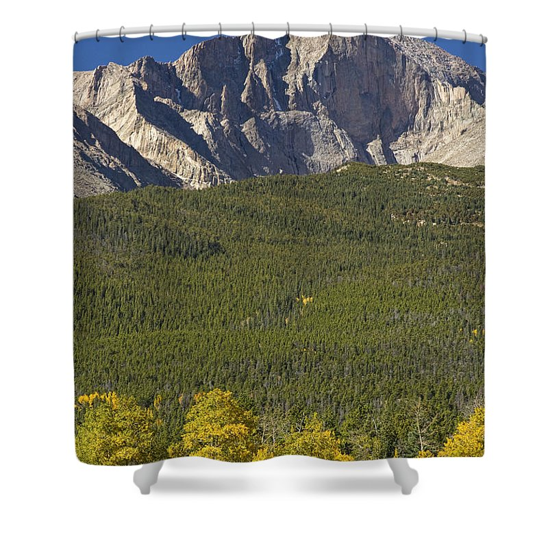 Colorado Shower Curtain featuring the photograph Golden Longs Peak View by James BO Insogna