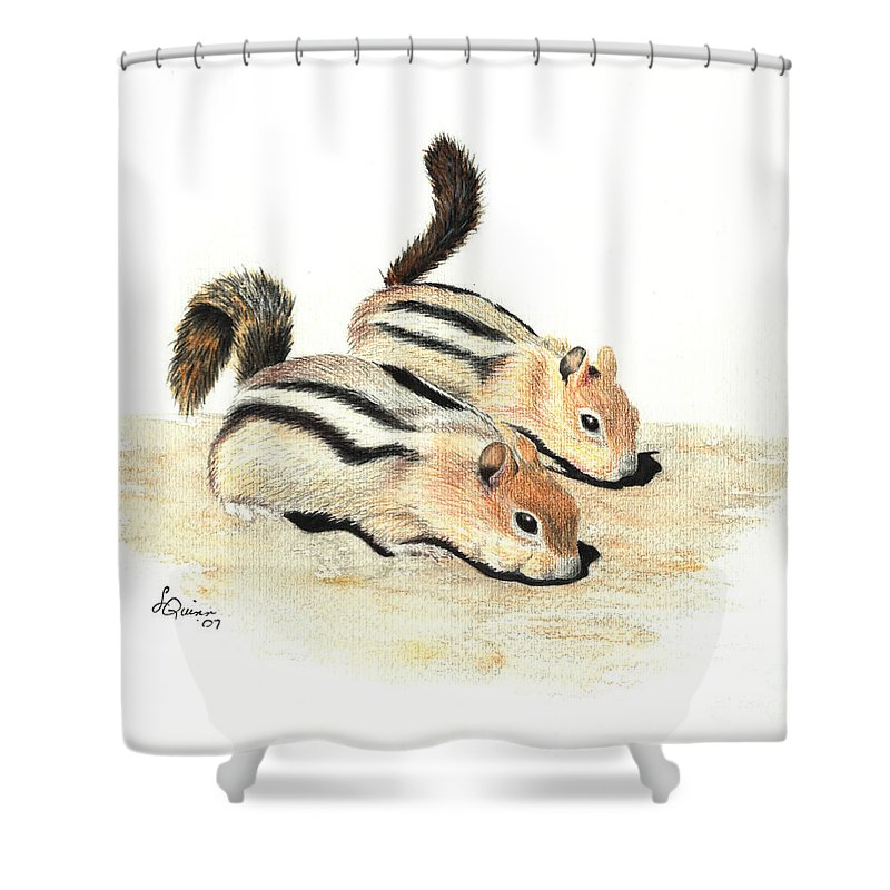 Nature Shower Curtain featuring the painting Golden-mantled Ground Squirrels by Lynn Quinn