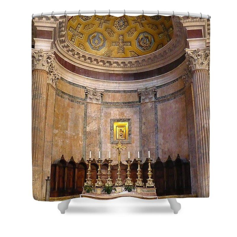 Pantheon Shower Curtain featuring the photograph Golden Pantheon Altar by Carol Groenen