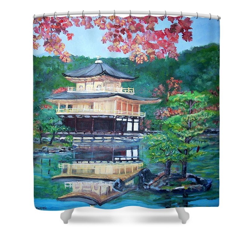 Landscape Shower Curtain featuring the painting Golden Pavillion In Kyoto by Teresa Dominici