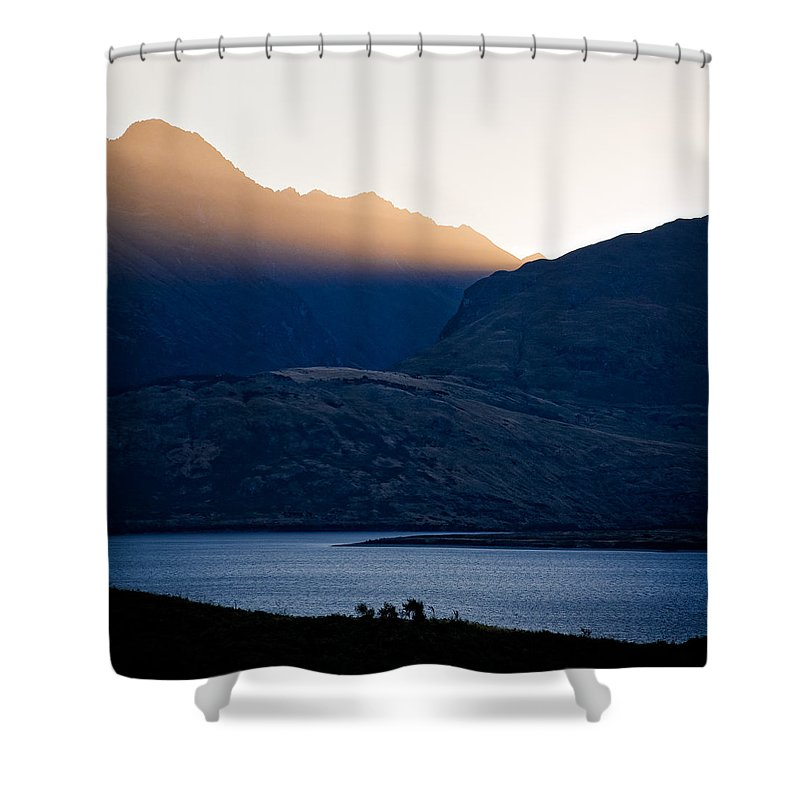 New Zealand Shower Curtain featuring the photograph Golden Rays by Dave Bowman
