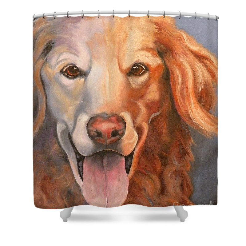 Dogs Shower Curtain featuring the painting Golden Retriever Till There Was You by Susan A Becker