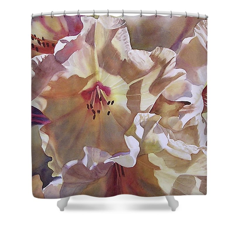 Golden Flower Shower Curtain featuring the painting Golden Rhododendronfull by Sharon Freeman