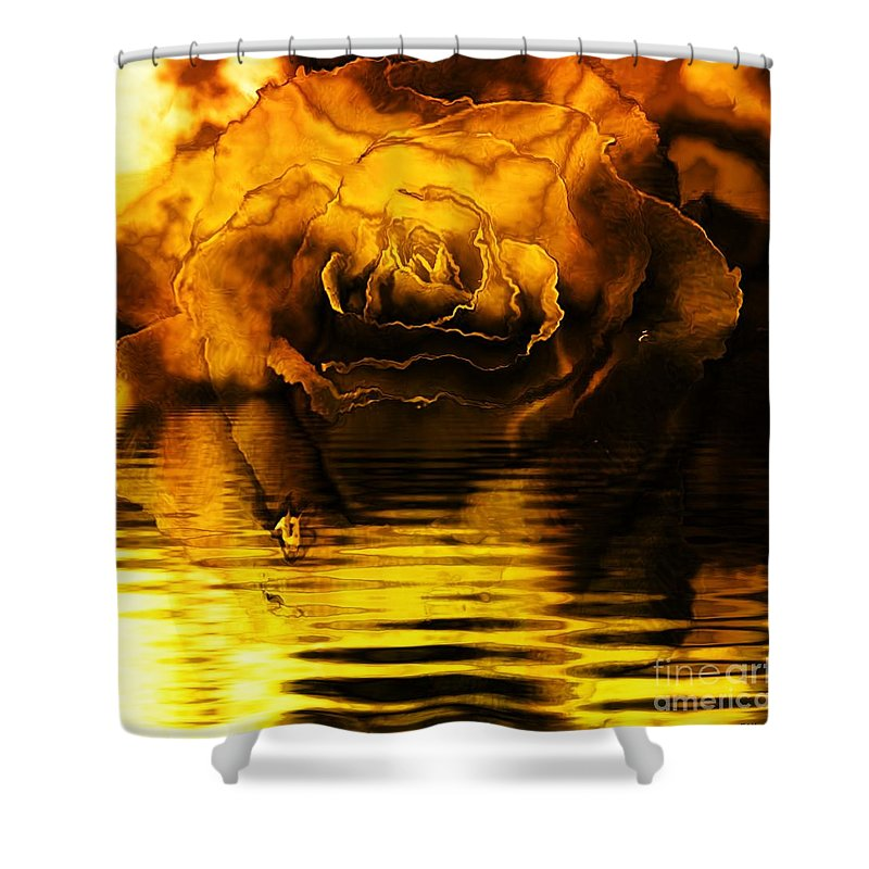 Fractal Art Shower Curtain featuring the digital art Golden Rose On The Lake by Elizabeth McTaggart
