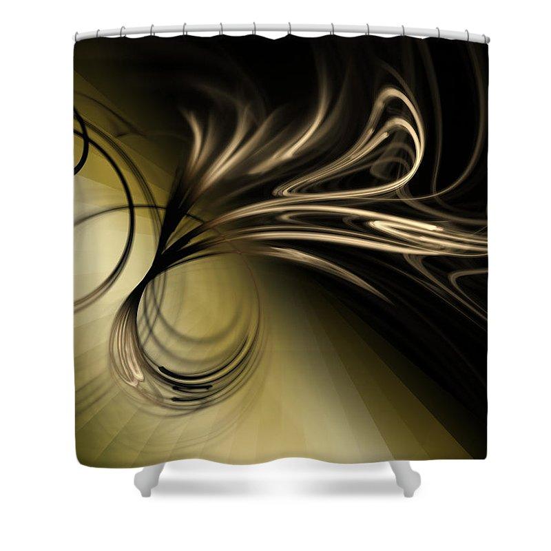 Gold Shower Curtain featuring the digital art Golden Scroll by Kiki Art