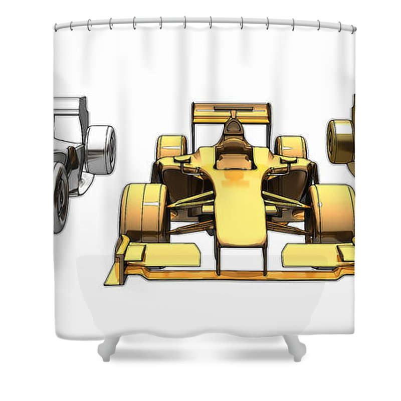 Acceleration Shower Curtain featuring the digital art Golden Silver Bronze Race Car Color Sketch by Nenad Cerovic