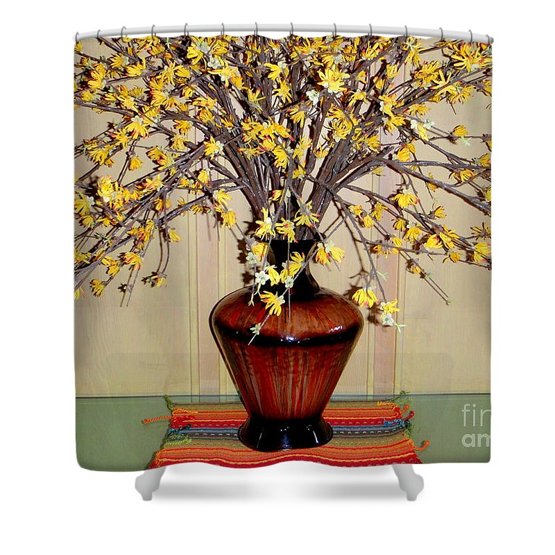 Flowers Shower Curtain featuring the photograph Golden Spray -1 by Mary Deal