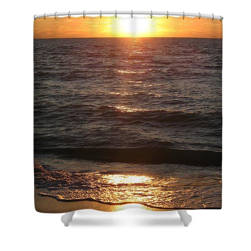 Sunset Shower Curtain featuring the photograph Golden Sunset At Destin Beach by Christiane Schulze Art And Photography