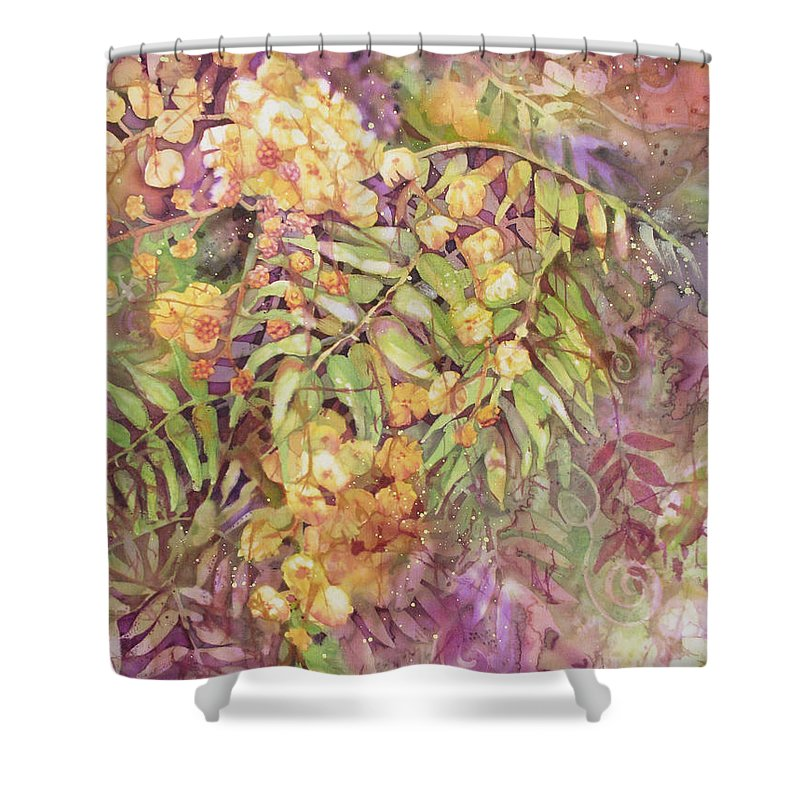 Flower Shower Curtain featuring the painting Golden Wattle by Deborah Younglao