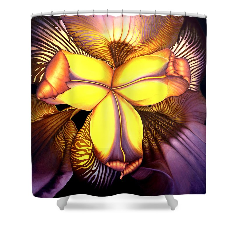 Flower Print Shower Curtain featuring the painting Goldie's Iris by Anni Adkins
