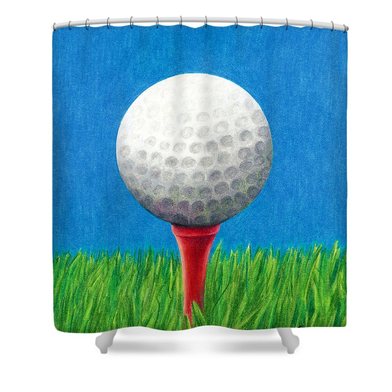 Golf Shower Curtain Featuring The Drawing Ball And Tee By Janice Dunbar