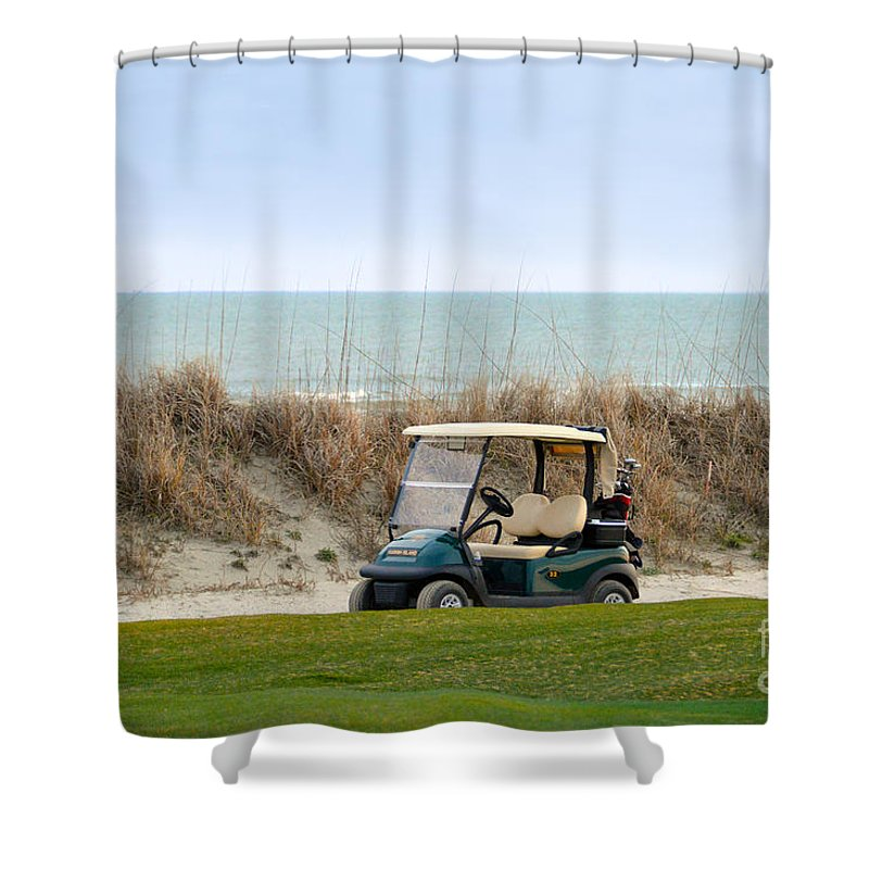Kiawah Island Shower Curtain featuring the photograph Golf Cart At Kiawah Island Golf Course by Catherine Sherman