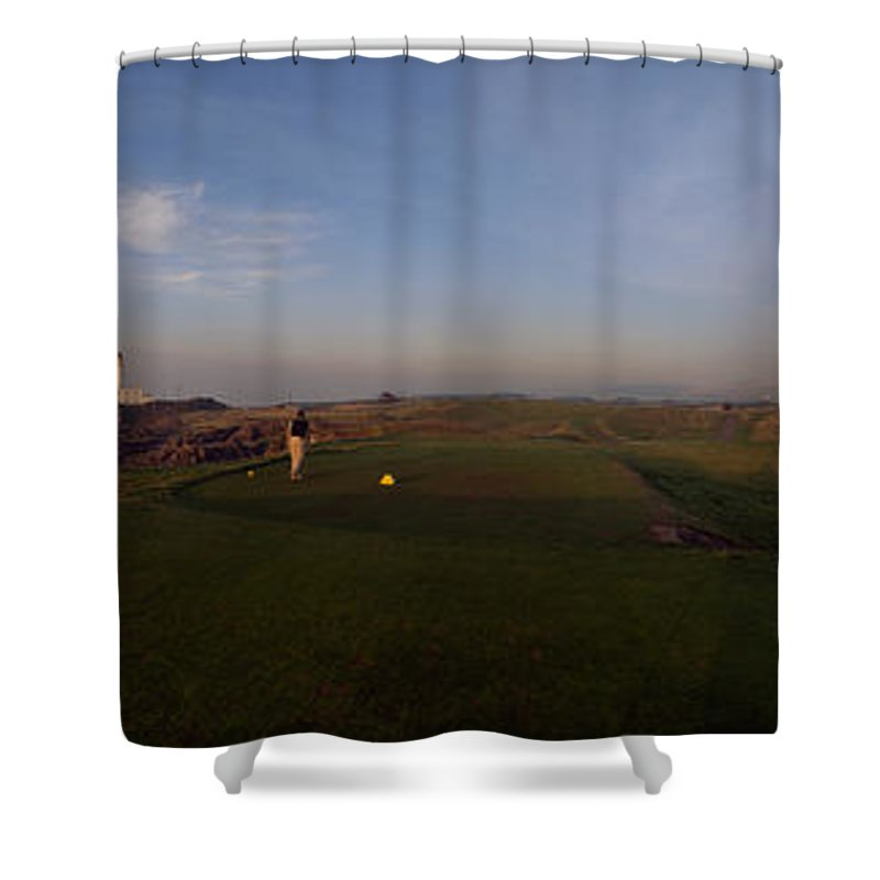 Photography Shower Curtain featuring the photograph Golf Course With A Lighthouse by Panoramic Images