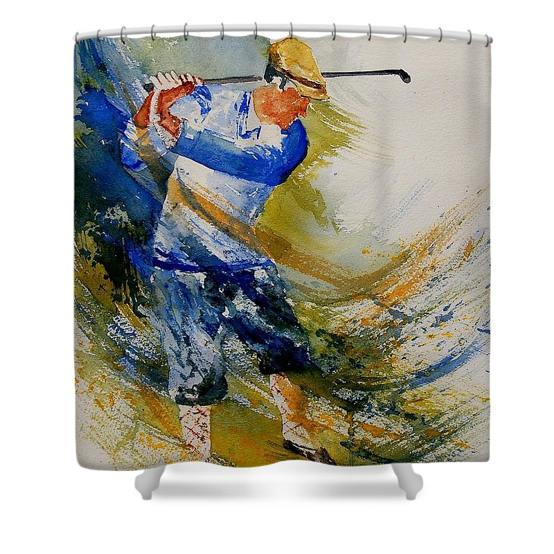 Golf Shower Curtain featuring the painting Golf Player by Pol Ledent