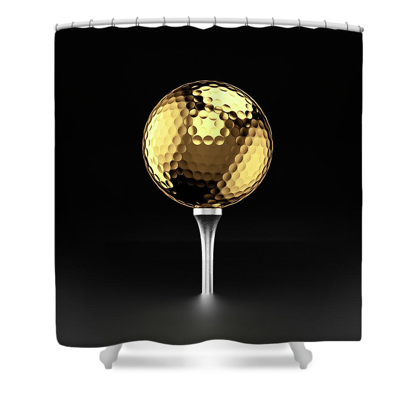 Two Objects Shower Curtain featuring the photograph Golfball And Alluminium Golf Tee by Atomic Imagery
