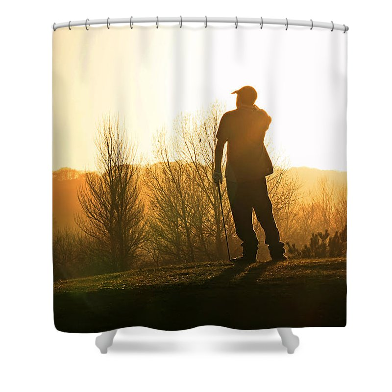 Golfer Shower Curtain featuring the photograph Golfer At Sunset by Steve Ball