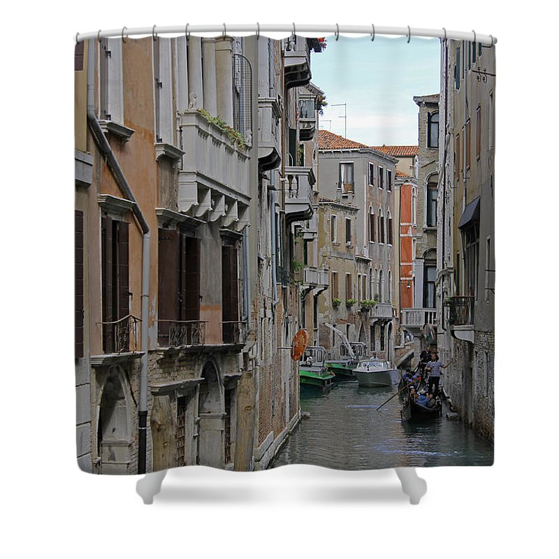 Venice Shower Curtain featuring the photograph Gondolas On Backstreet Canal by Tony Murtagh