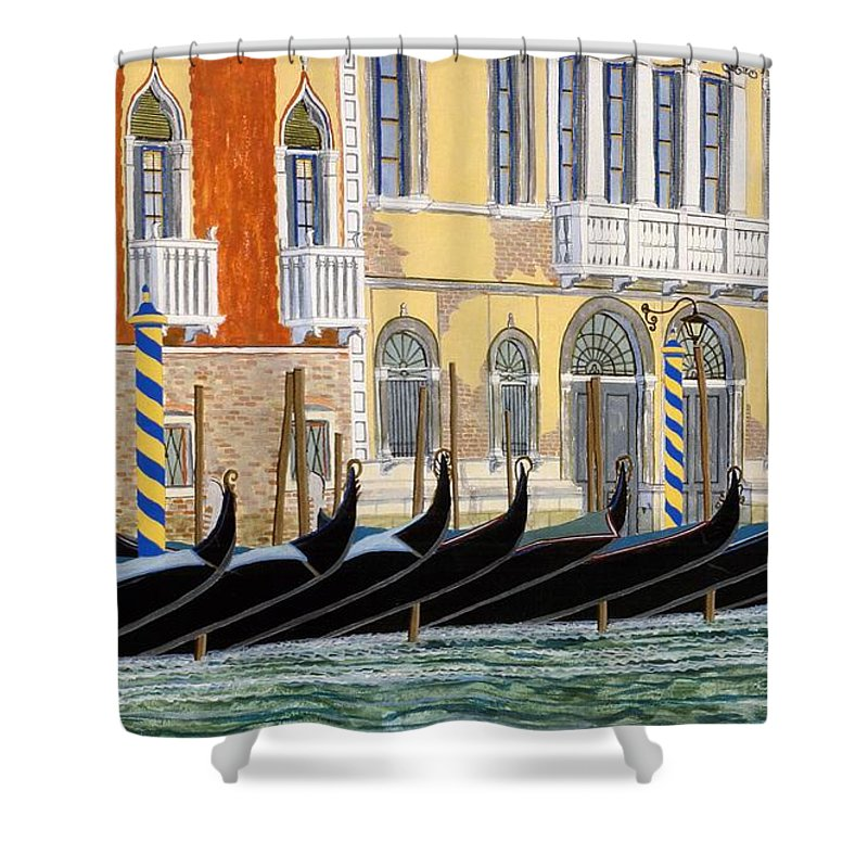 Landscape Shower Curtain featuring the painting Gondolas On The Grand Canal by David Hinchen
