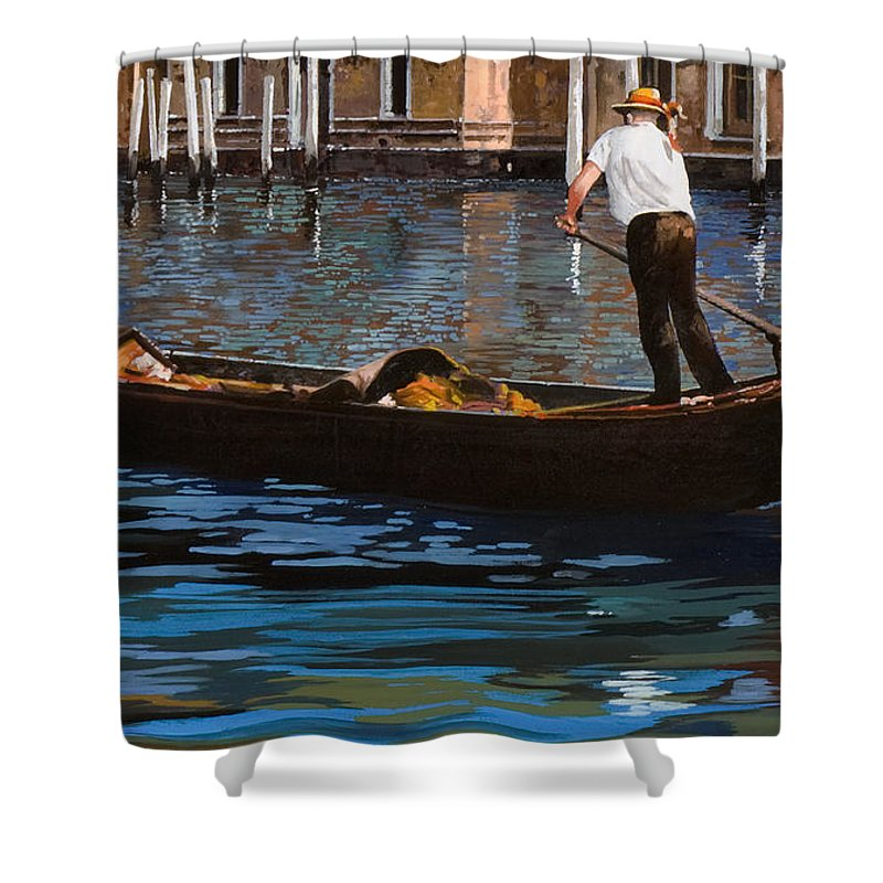 Venice Shower Curtain featuring the painting Gondoliere Sul Canale by Guido Borelli