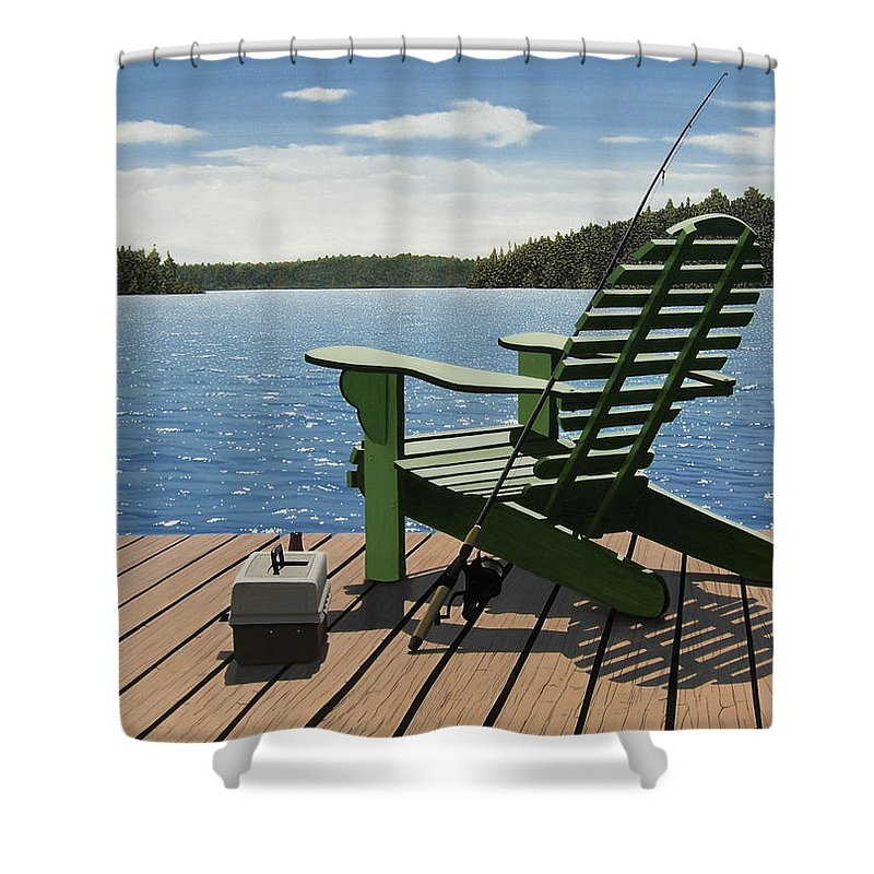 Landscapes Shower Curtain featuring the painting Gone Fishing by Kenneth M Kirsch