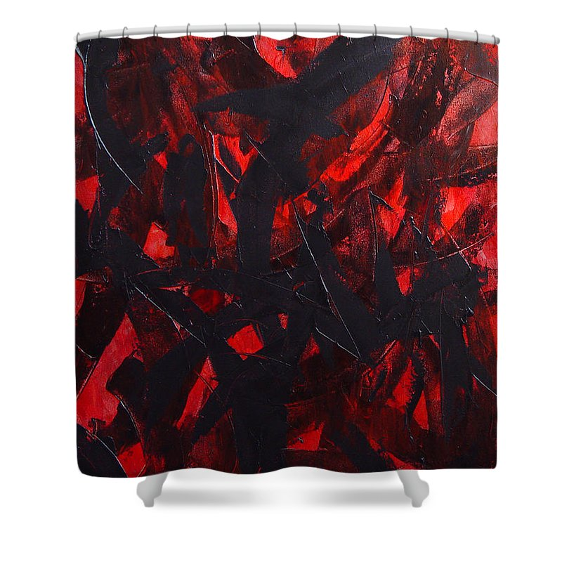 Abstract Shower Curtain featuring the painting Good Bye by Dean Triolo