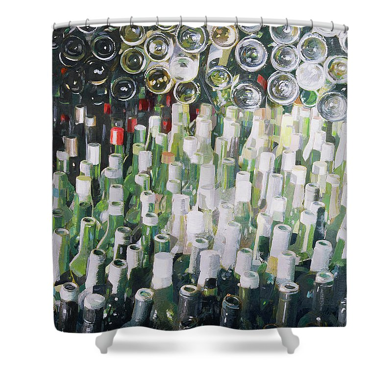 Wine Bottle; Bottles; Cellar; Glass; Store; Wine Shower Curtain featuring the painting Good Life by Lincoln Seligman
