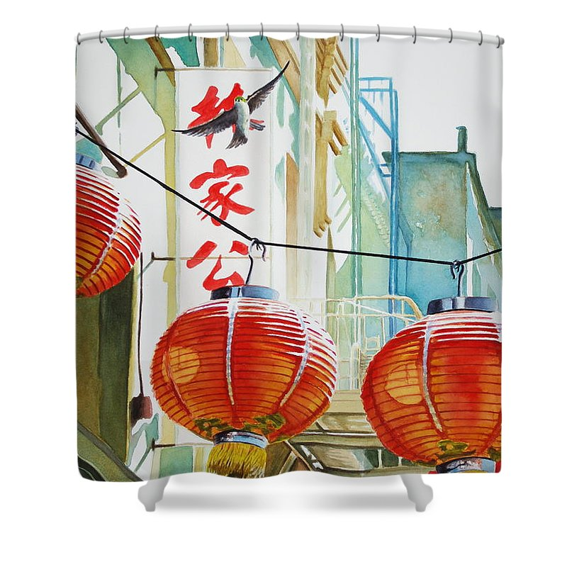 Chinatown Shower Curtain featuring the painting Good News In Chinatown by Greg and Linda Halom