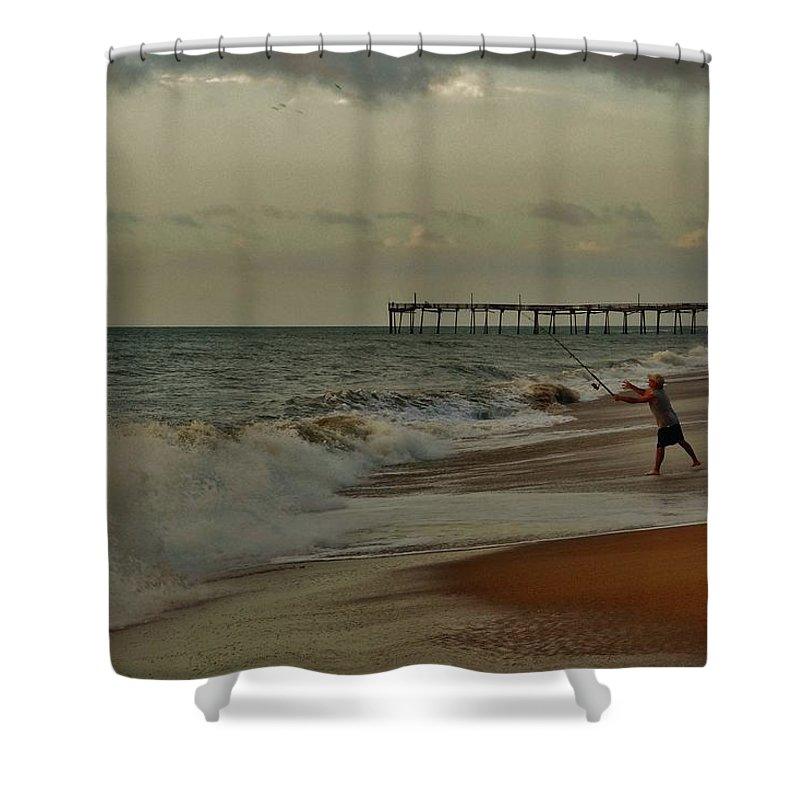 Mark Lemmon Cape Hatteras Nc The Outer Banks Photographer Subjects From Sunrise Shower Curtain featuring the photograph Good Things Come To Those Who Bait 16 9/3 by Mark Lemmon