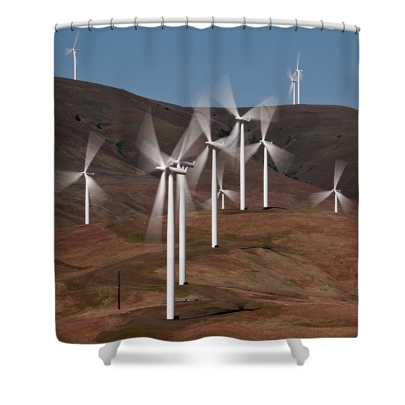 Gorge Windmills Shower Curtain featuring the photograph Gorge Windmills by Wes and Dotty Weber