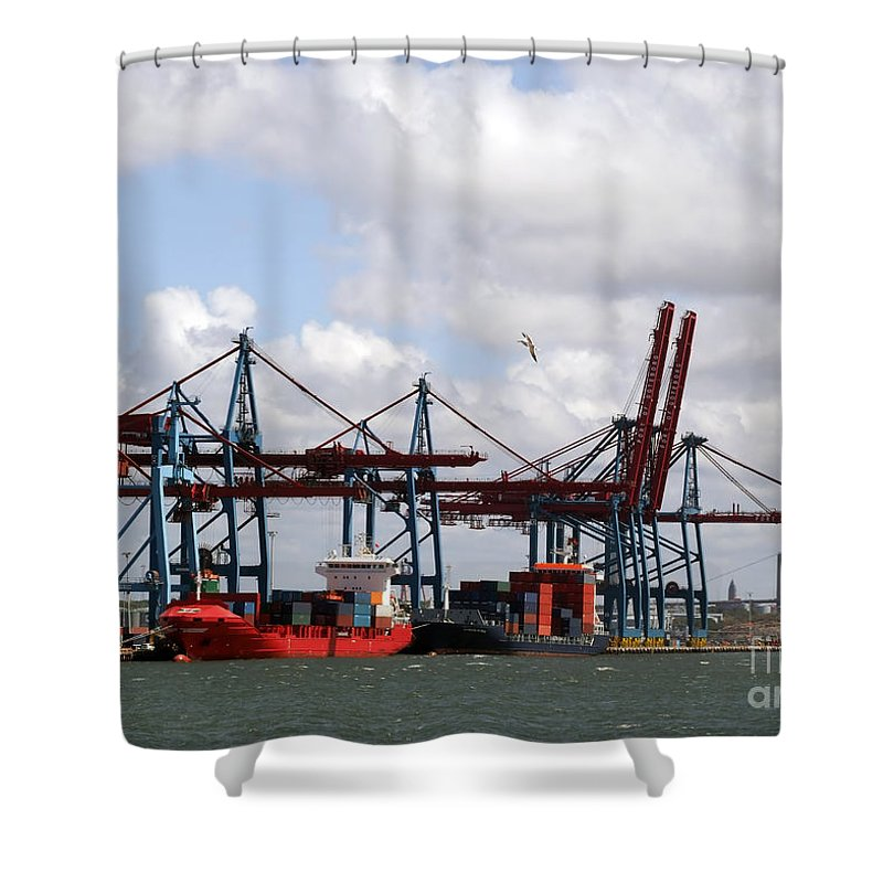 Boat Shower Curtain featuring the photograph Gothenburg Harbour 07 by Antony McAulay