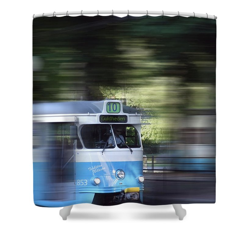 Motion Shower Curtain featuring the photograph Gothenburg Tram 05 by Antony McAulay