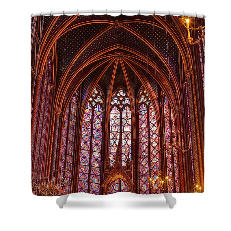 Gothic Style Shower Curtain featuring the photograph Gothic Architecture Inside Sainte by Julian Elliott Photography