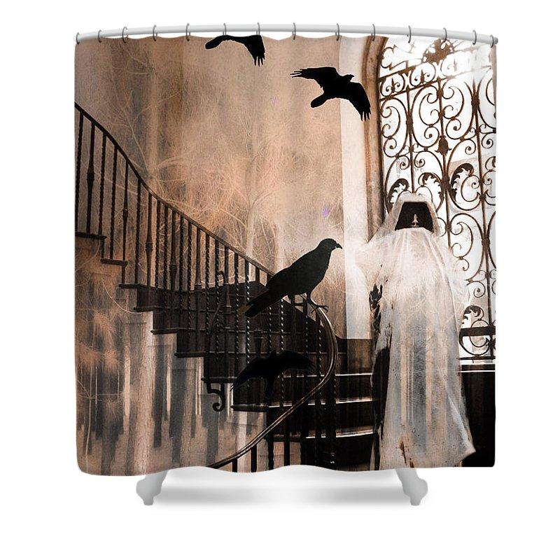 Gothic Ravens And Crows Shower Curtain Featuring The Photograph Grim Reaper With