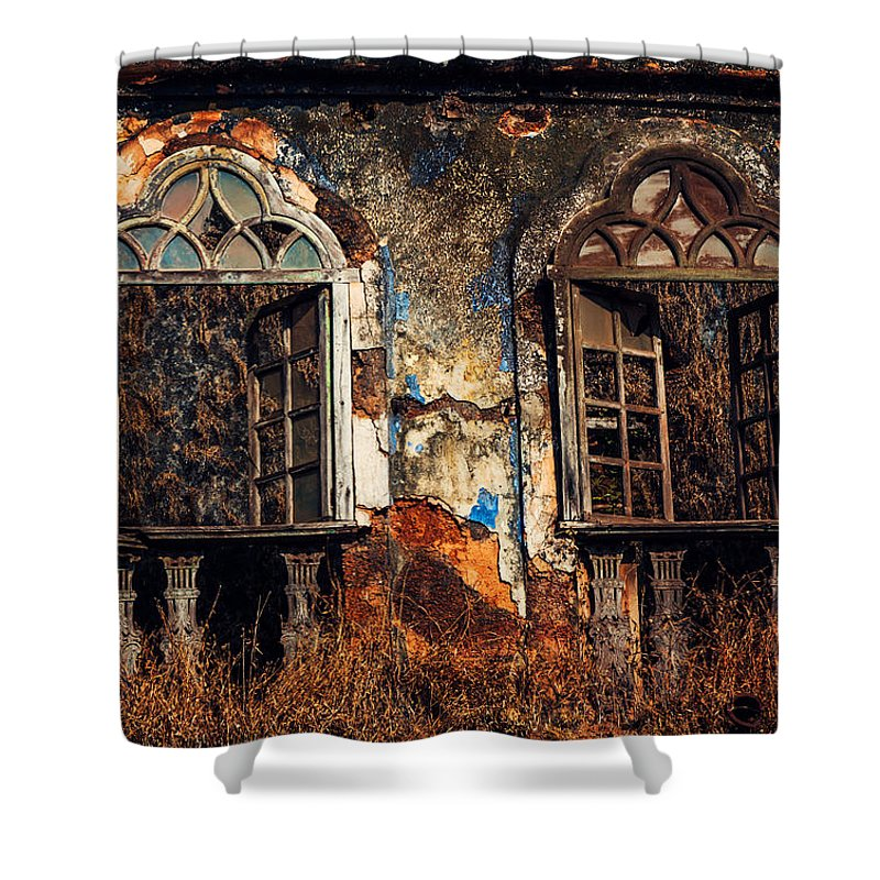 India Shower Curtain Featuring The Photograph Gothic Windows. Old  Portuguese House. Goa. India