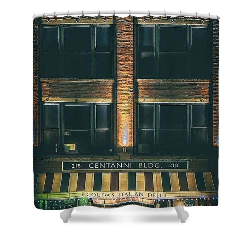 Architecture Shower Curtain featuring the photograph Goudas Italian Deli Color by Scott Norris