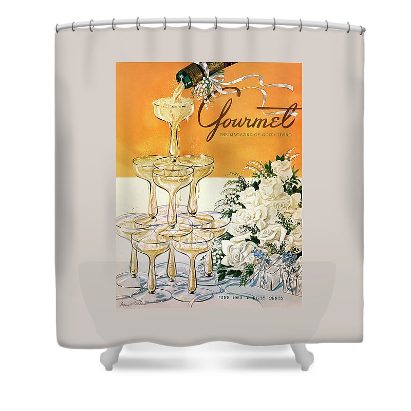Entertainment Shower Curtain Featuring The Photograph Gourmet Cover A Pyramid Of Champagne By Henry Stahlhut