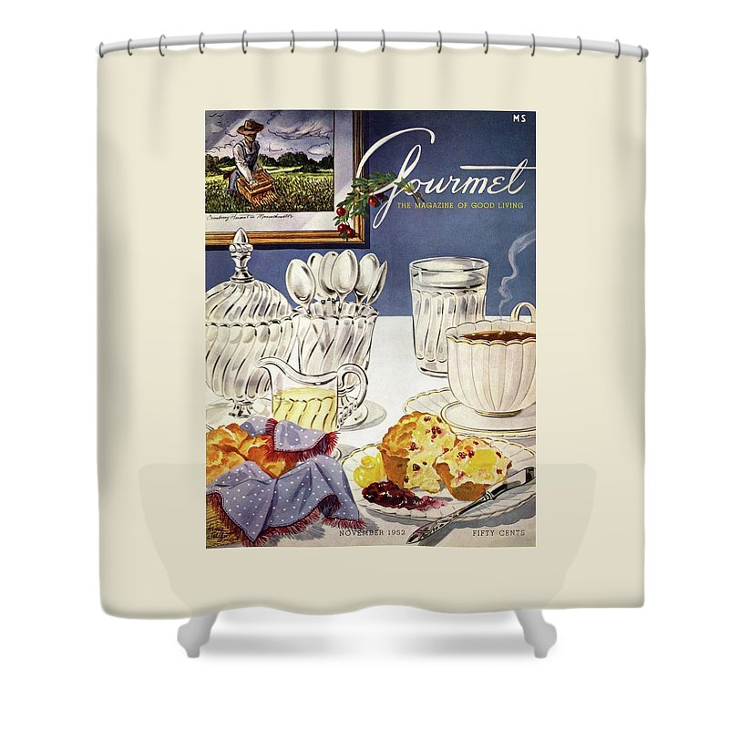 Gourmet Cover Illustration Of Cranberry Muffins Shower Curtain For Sale By Henry Stahlhut