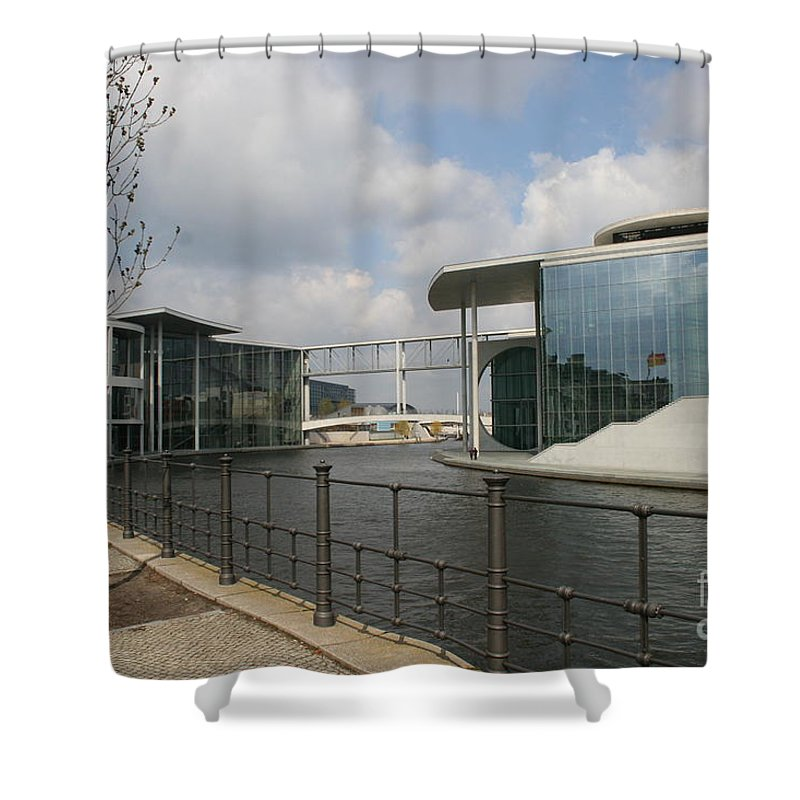 Goverment Building Shower Curtain featuring the photograph Government Building And Spree by Christiane Schulze Art And Photography