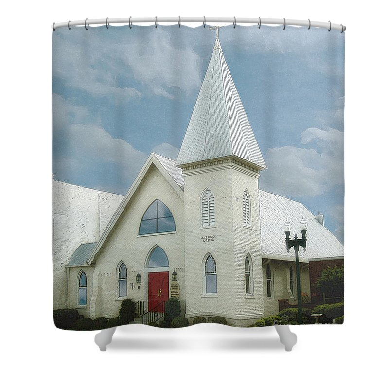 Windows On The Square Shower Curtain featuring the photograph Grace Church by Lee Owenby