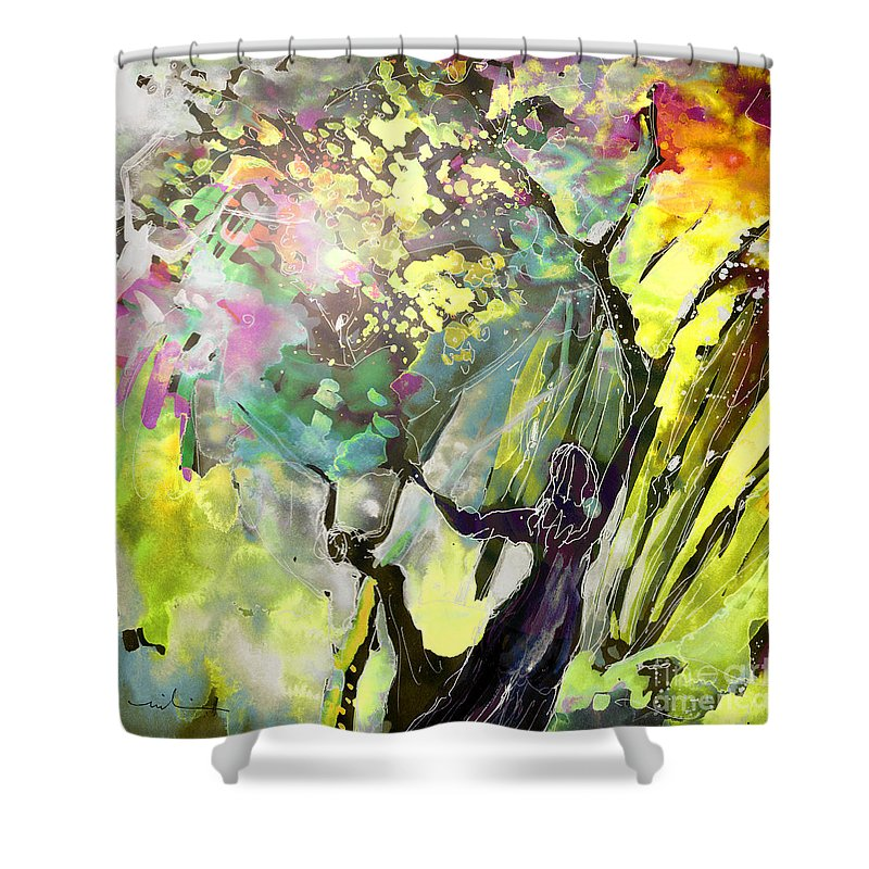 Fantasy Shower Curtain featuring the painting Grace Under Pressure by Miki De Goodaboom