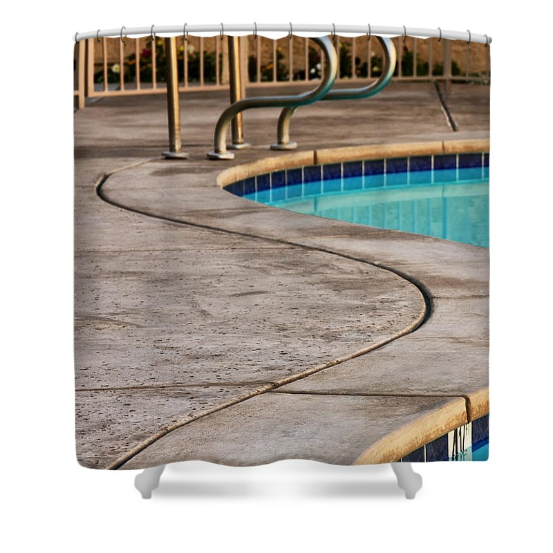 Swimming Pool Shower Curtain featuring the photograph Gracious Curves Palm Springs by William Dey