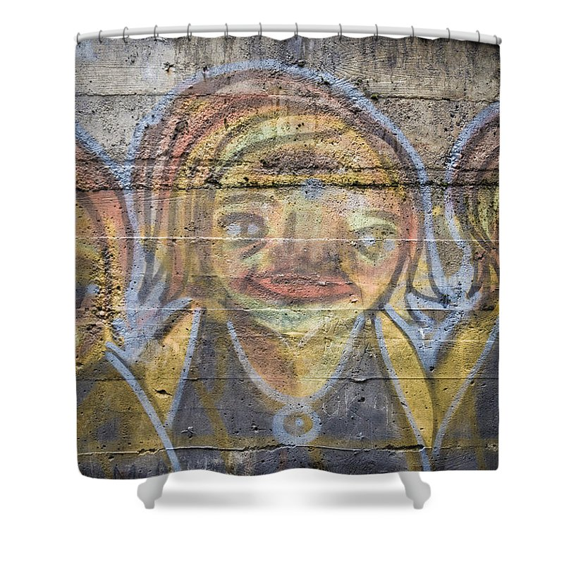 Building Shower Curtain featuring the photograph Graffiti Covered Cement Wall by Edward Fielding