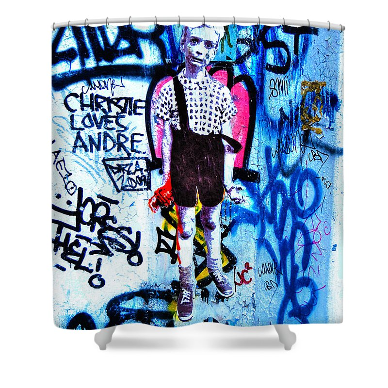 Child With Toy Hand Grenade Shower Curtain featuring the photograph Graffiti Rendition Of Diane Arbus's Photo - Child With Toy Hand Grenade In Central Park by Randy Aveille