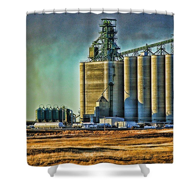 Grain Elevators Shower Curtain featuring the photograph Grain Elevators by Randy Harris
