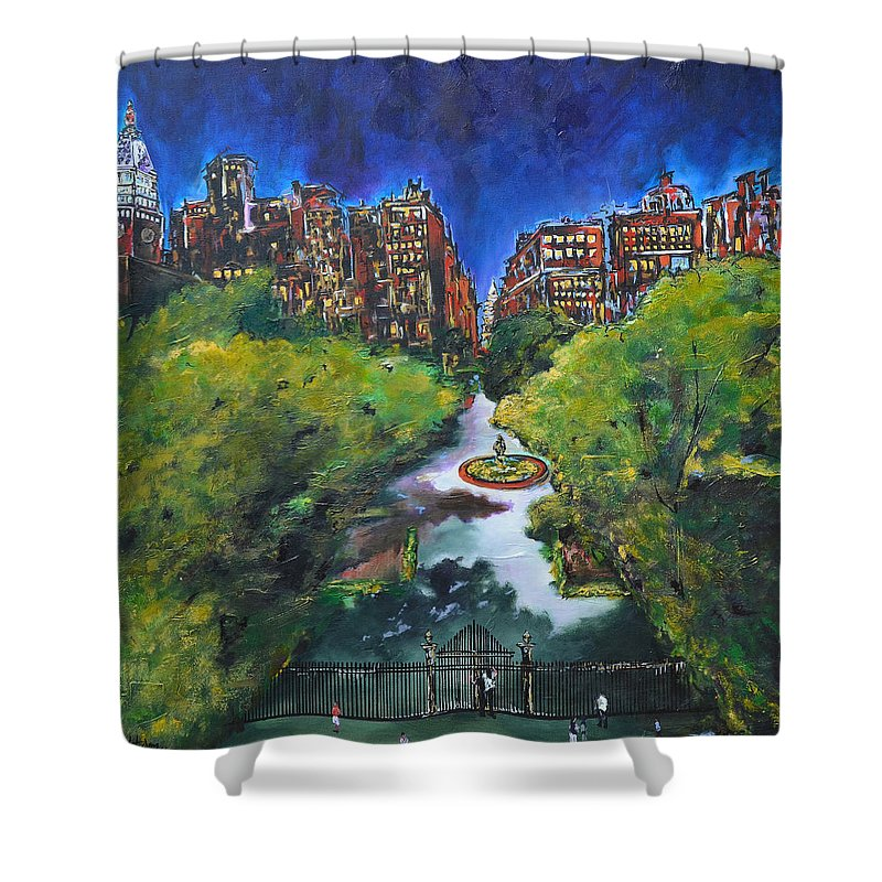 New York Shower Curtain featuring the painting Gramercy Park by Nancy Hilliard Joyce