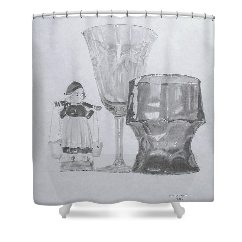 Glassware Shower Curtain featuring the drawing Grammas Glasses by Mary Ellen Mueller Legault