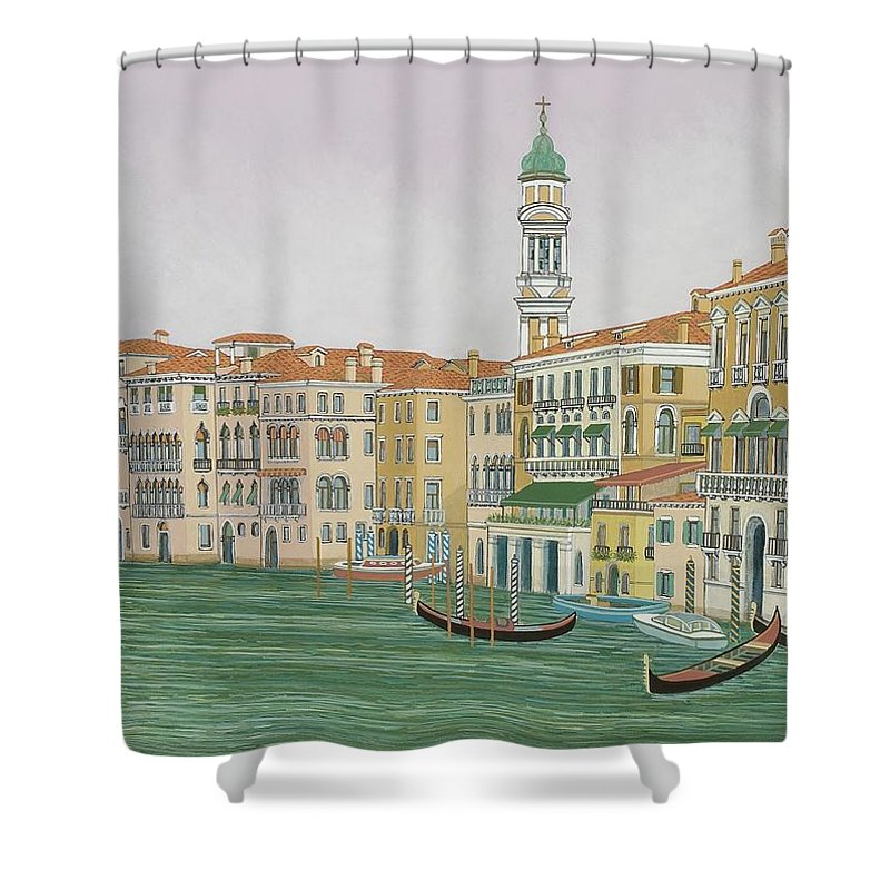 Venice Shower Curtain featuring the painting Grand Canal by David Hinchen