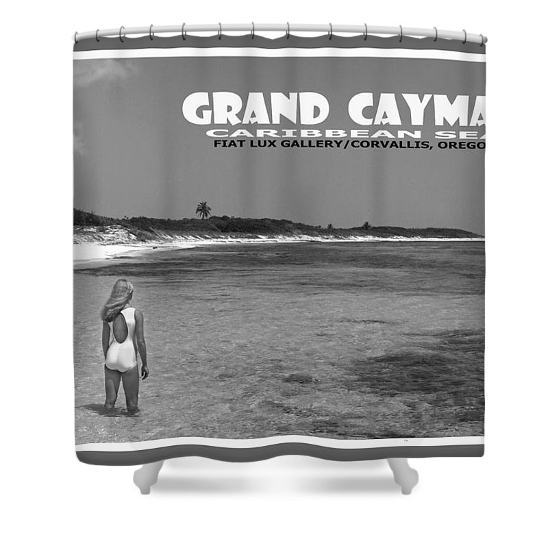 Grand Cayman. Caribbean Sea. Beach Scenes. Travel Posters. Black And White Photos. Shower Curtain featuring the photograph Grand Cayman by Michael Moore