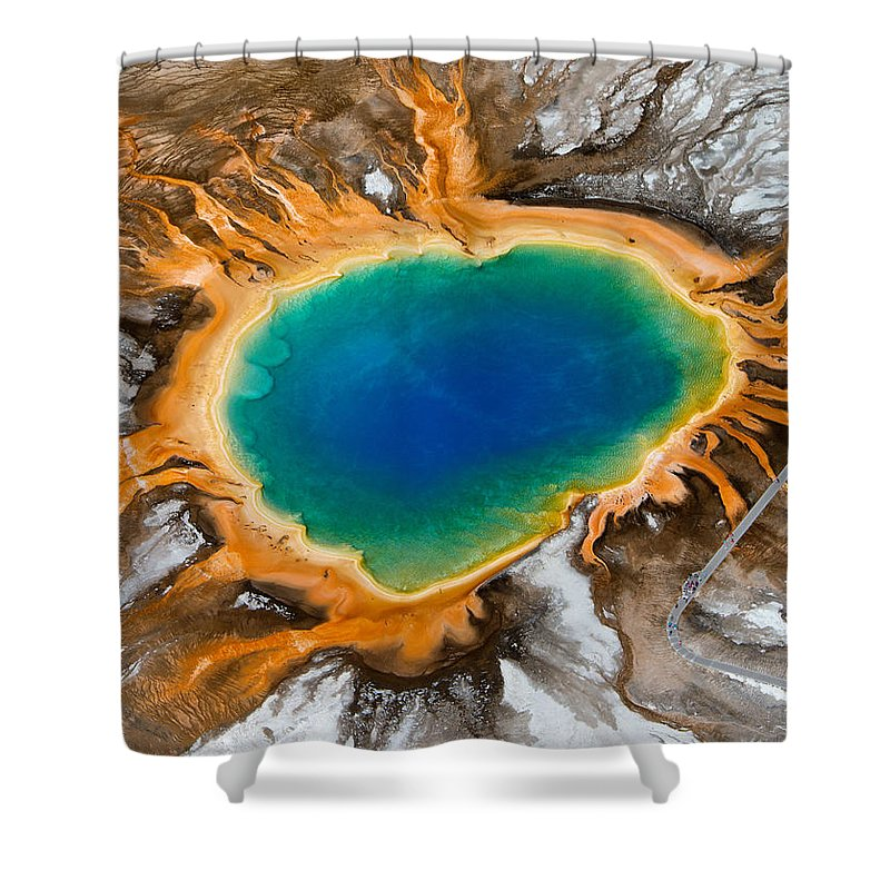 North America Shower Curtain featuring the photograph Grand Prismatic Spring II by Max Waugh